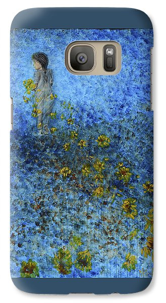 Galaxy Case featuring the painting Traces Sunflowers Lost by Nik Helbig