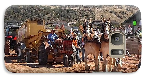 Galaxy Case featuring the photograph Tractors And Draft Horses Pulling by Deborah Moen