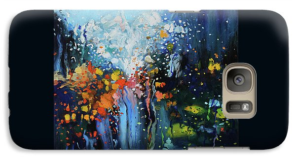 Galaxy Case featuring the painting Traffic Seen Through A Rainy Windshield by Dan Haraga