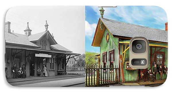 Galaxy Case featuring the photograph Train Station - Garrison Train Station 1880 - Side By Side by Mike Savad