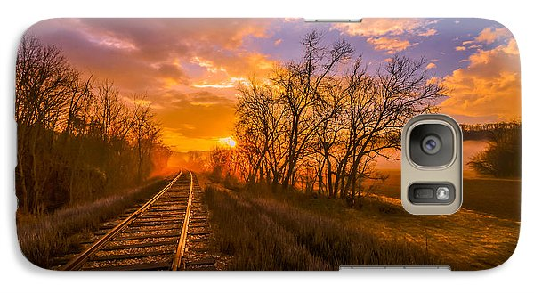Galaxy Case featuring the photograph Train Track Sunrise by Brian Stevens
