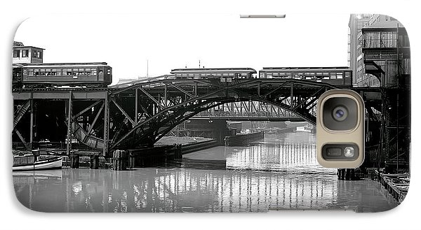Galaxy Case featuring the photograph Trains Cross Jack Knife Bridge - Chicago C. 1907 by Daniel Hagerman