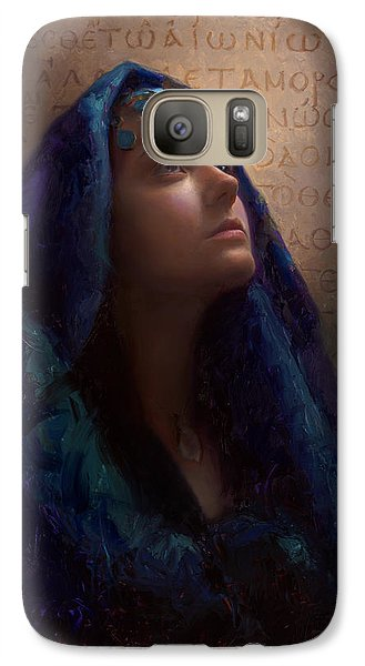 Galaxy Case featuring the painting Transformation - Woman With Romans 12 2 Written In Original Greek  by Karen Whitworth