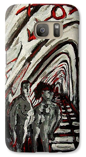 Galaxy Case featuring the painting Transgender Entity Nude In Modern Hallway With Arches And Gender Symbols Of Trans Changes Struggle by MendyZ M Zimmerman