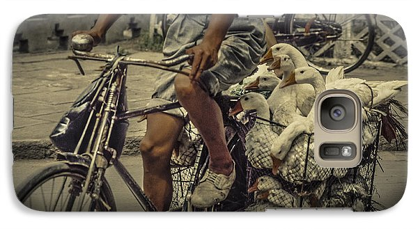 Galaxy Case featuring the photograph Transport By Bicycle In China by Heiko Koehrer-Wagner