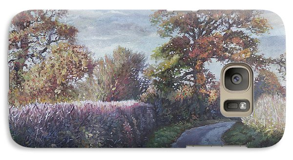 Galaxy Case featuring the painting Tree Lined Countryside Road by Martin Davey