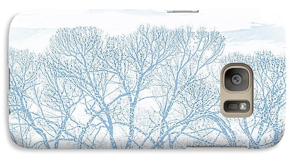 Galaxy Case featuring the photograph Tree Silhouette Blue by Jennie Marie Schell