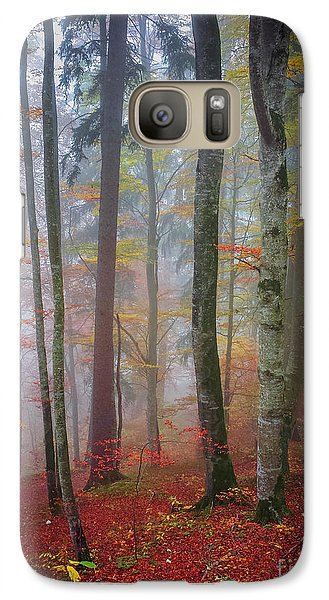Galaxy Case featuring the photograph Tree Trunks In Fog by Elena Elisseeva