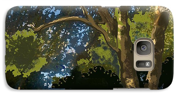 Galaxy Case featuring the digital art Trees In Park by Walter Chamberlain