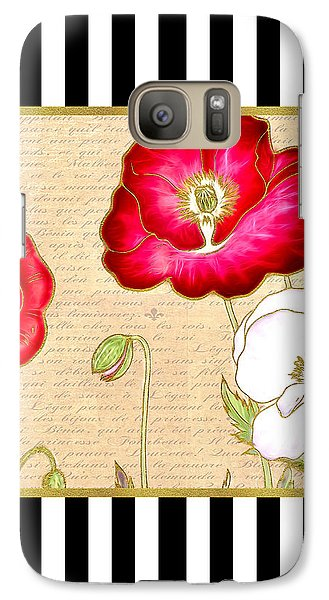 Galaxy Case featuring the digital art Trendy Red Poppy Floral Black And White Stripes by Tracie Kaska
