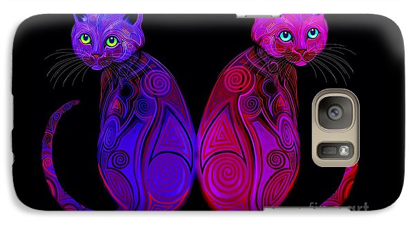 Galaxy Case featuring the digital art Tribal Cats by Nick Gustafson
