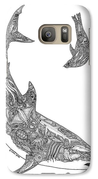 Tribal Great White And Sea Lion Galaxy Case by Carol Lynne
