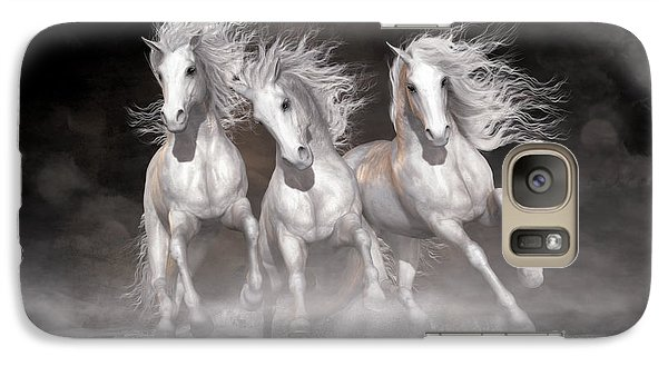 Galaxy Case featuring the digital art Trinity Horses Neutrals by Shanina Conway