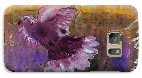 Galaxy Case featuring the painting Trinity Of Contemporary Flying Dove Birds In Yellow Purple And Blue by MendyZ M Zimmerman