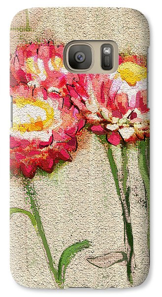 Galaxy Case featuring the painting Trio by Carrie Joy Byrnes