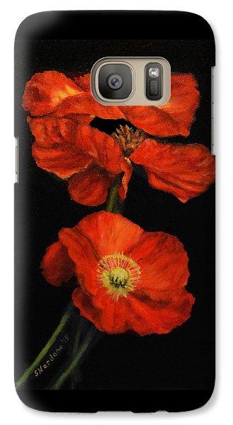 Galaxy Case featuring the painting Poppy Trio by Sandra Nardone