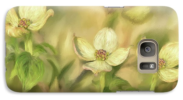 Galaxy Case featuring the digital art Triple Dogwood Blossoms In Evening Light by Lois Bryan