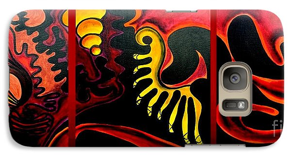 Galaxy Case featuring the painting Triptych Abstract Vision by Jolanta Anna Karolska