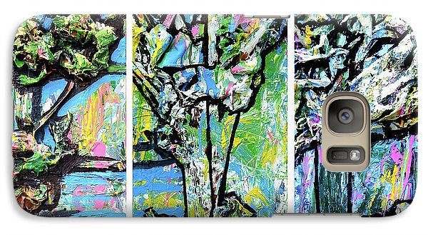 Galaxy Case featuring the painting Triptych Of Three Trees By A Brook by Genevieve Esson