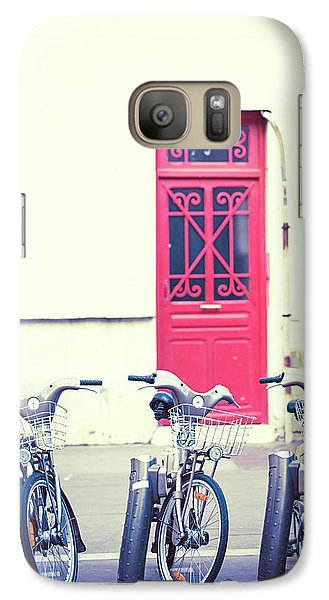 Galaxy Case featuring the photograph Trois - Three Bicycles In Paris by Melanie Alexandra Price