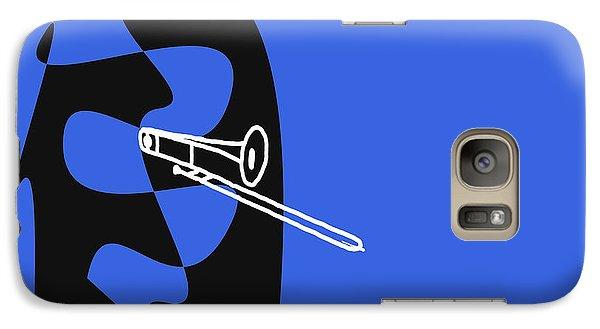 Galaxy Case featuring the digital art Trombone In Blue by Jazz DaBri