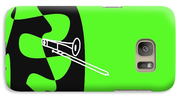 Galaxy Case featuring the digital art Trombone In Green by Jazz DaBri