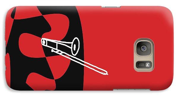 Galaxy Case featuring the digital art Trombone In Red by Jazz DaBri