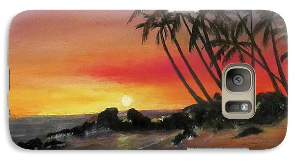 Galaxy Case featuring the painting Tropical Sunset by Roseann Gilmore
