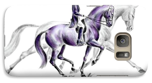 Galaxy Case featuring the drawing Trot On - Dressage Horse Print Color Tinted by Kelli Swan