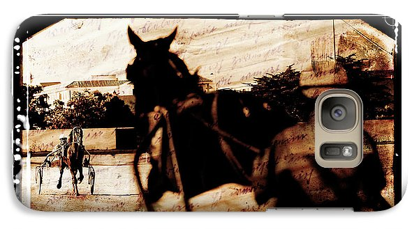 Galaxy Case featuring the photograph trotting 1 - Harness racing in a vintage post processing by Pedro Cardona