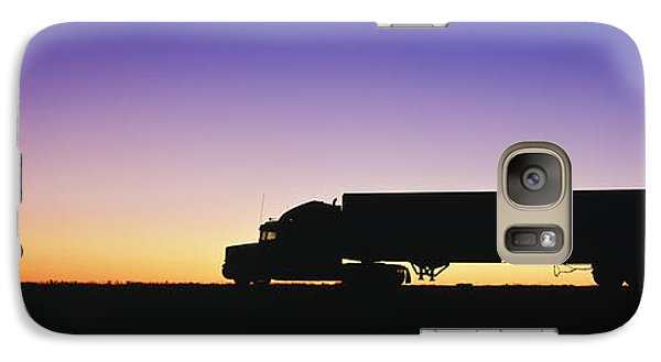 Truck Parked On Freeway At Sunrise Galaxy Case by Jeremy Woodhouse