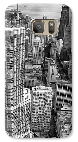 Galaxy Case featuring the photograph Trump Tower And John Hancock Aerial Black And White by Adam Romanowicz