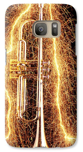 Music Galaxy S7 Case - Trumpet Outlined With Sparks by Garry Gay