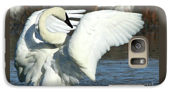 Galaxy Case featuring the photograph Trumpeter Swan by Paula Guttilla