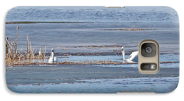 Galaxy Case featuring the photograph Trumpeter Swans 0933 by Michael Peychich