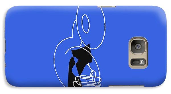 Galaxy Case featuring the digital art Tuba In Blue by Jazz DaBri