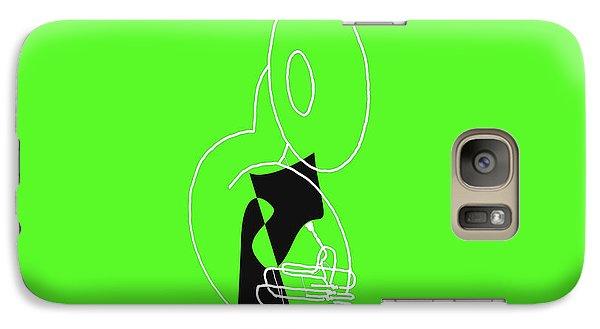Galaxy Case featuring the digital art Tuba In Green by Jazz DaBri