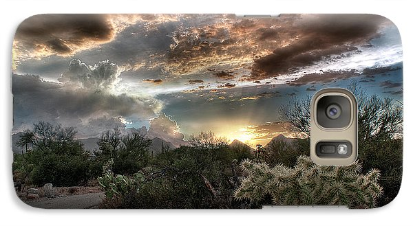 Galaxy Case featuring the photograph Tucson Mountain Sunset by Lynn Geoffroy