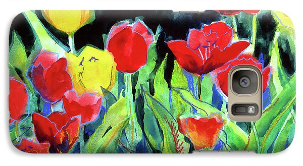 Galaxy Case featuring the painting Tulip Bed At Dark by Kathy Braud
