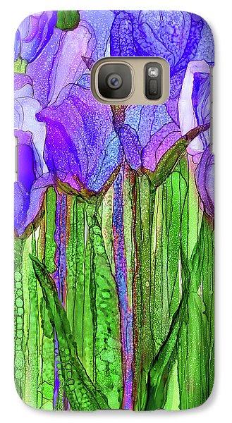 Galaxy Case featuring the mixed media Tulip Bloomies 1 - Purple by Carol Cavalaris