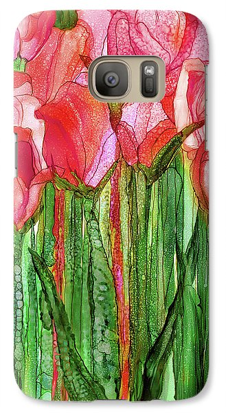 Galaxy Case featuring the mixed media Tulip Bloomies 1 - Red by Carol Cavalaris