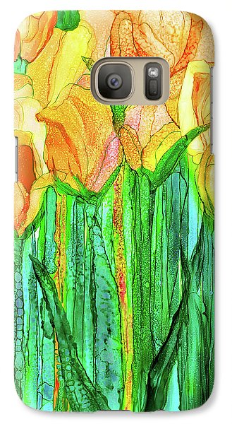 Galaxy Case featuring the mixed media Tulip Bloomies 1 - Yellow by Carol Cavalaris