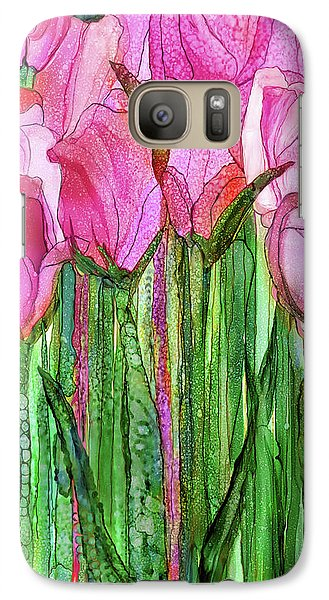 Galaxy Case featuring the mixed media Tulip Bloomies 2 - Pink by Carol Cavalaris