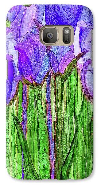 Galaxy Case featuring the mixed media Tulip Bloomies 2 - Purple by Carol Cavalaris