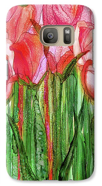 Galaxy Case featuring the mixed media Tulip Bloomies 2 - Red by Carol Cavalaris