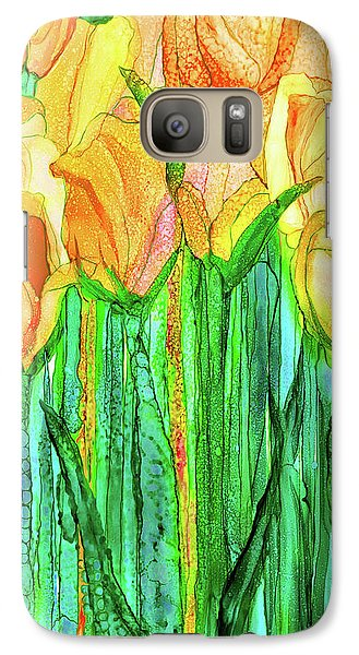 Galaxy Case featuring the mixed media Tulip Bloomies 2 - Yellow by Carol Cavalaris