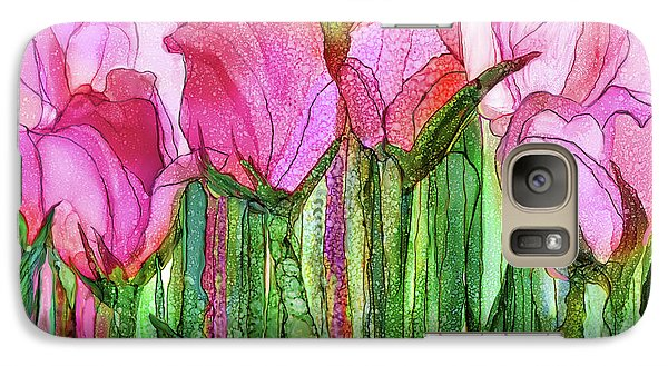 Galaxy Case featuring the mixed media Tulip Bloomies 3 - Pink by Carol Cavalaris