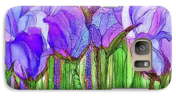 Galaxy Case featuring the mixed media Tulip Bloomies 3 - Purple by Carol Cavalaris