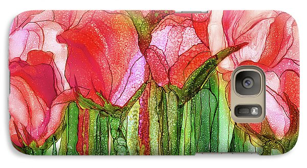 Galaxy Case featuring the mixed media Tulip Bloomies 3 - Red by Carol Cavalaris