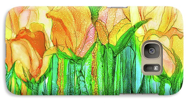 Galaxy Case featuring the mixed media Tulip Bloomies 3 - Yellow by Carol Cavalaris